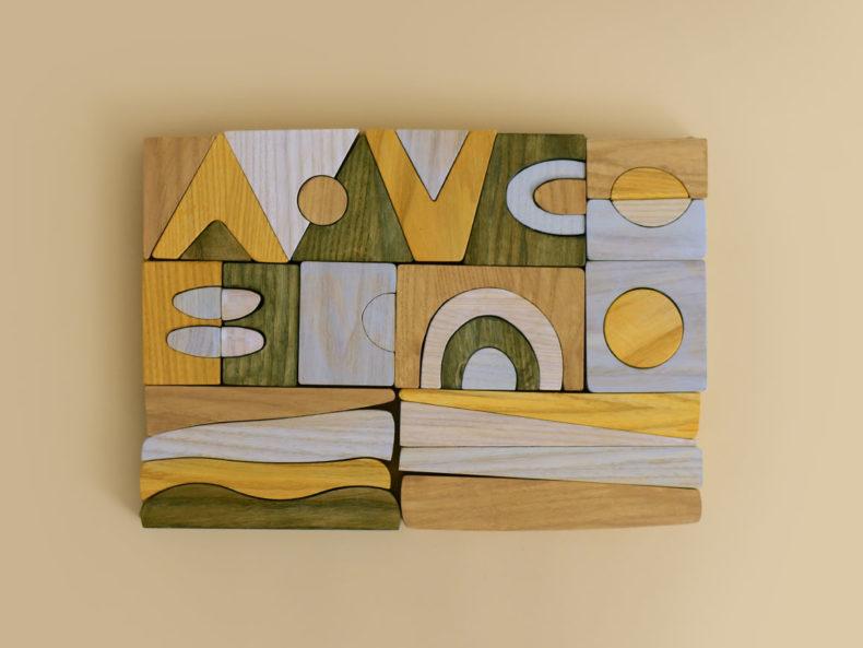 Holzbausteine Puzzle Montessori
