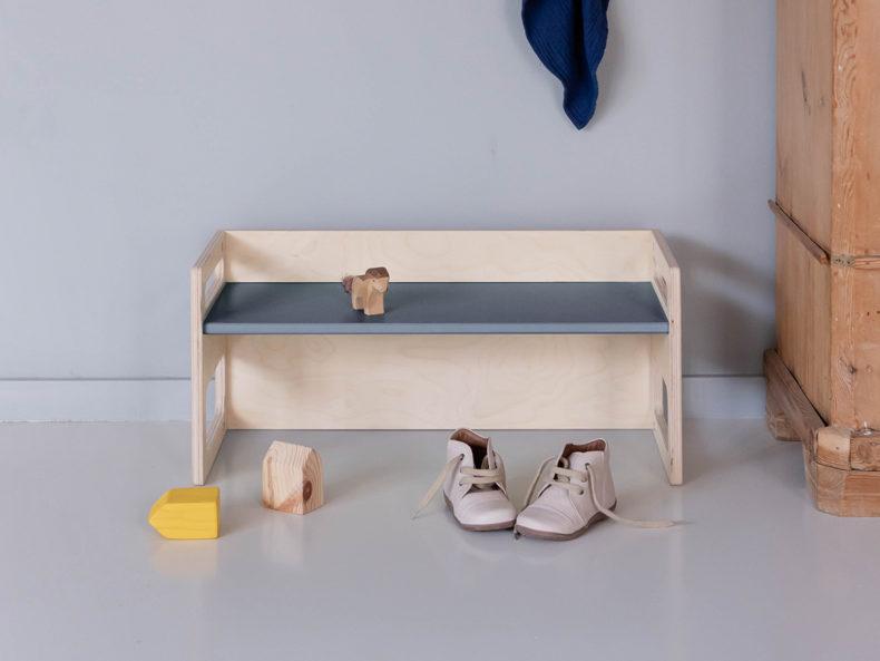 Kinderbank Holz grau