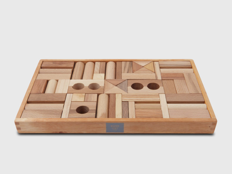 WOODEN STORY Natural Blocks in tray 54 pcs