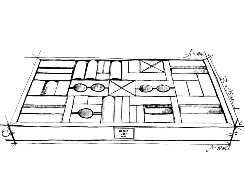 WOODEN STORY Natural Blocks in tray 54 pcs Drawing