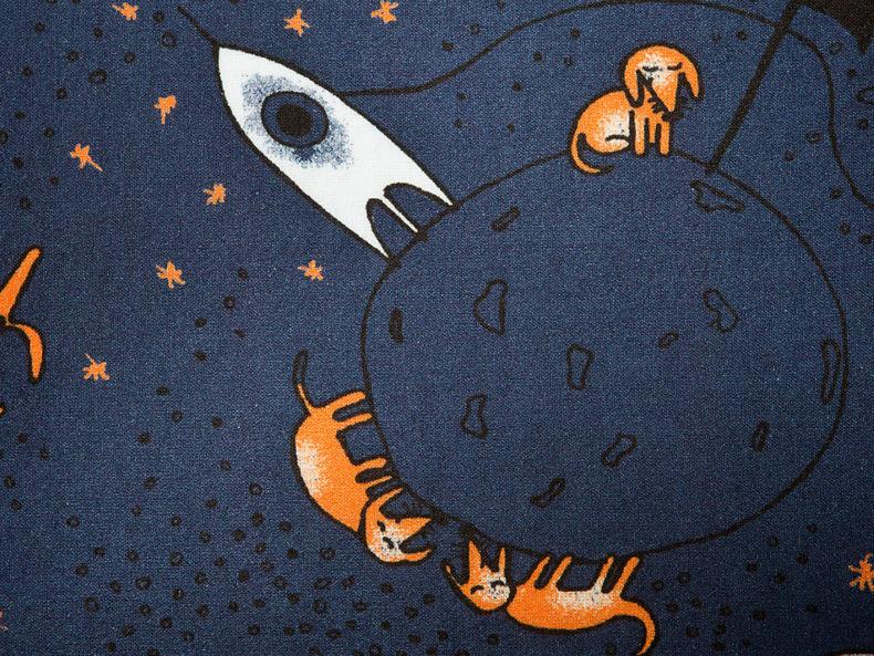 """Schön, oder? Bettwäsche """"Dackel im Weltall"""" blau-orange, Rakete"""