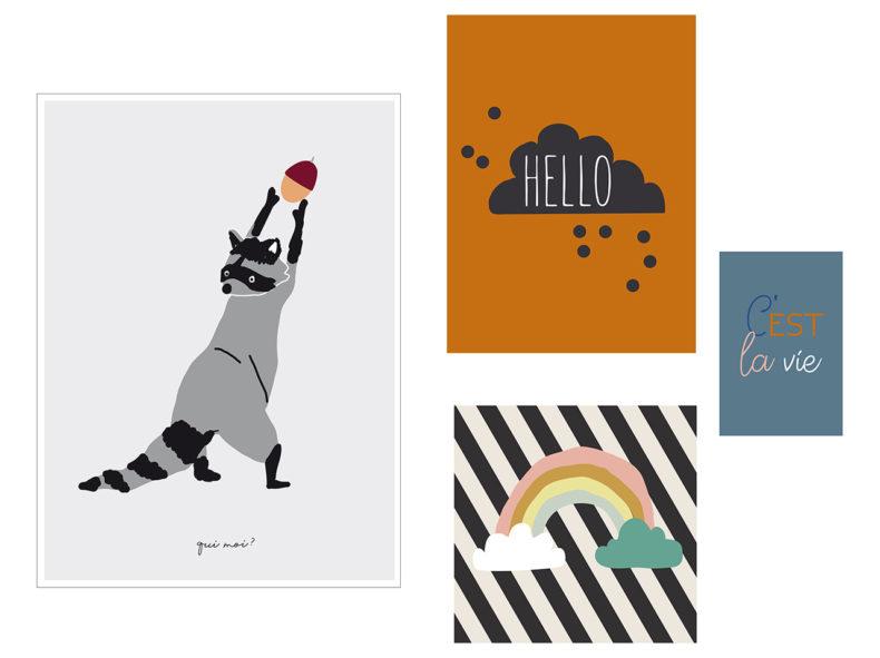 MIMI'lou 4er Set Poster HELLO